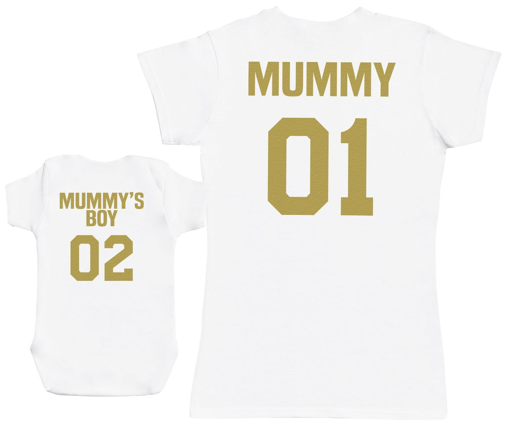 Mummy 01 & Mummy's Boy 02 - Baby Vest & Womens T-shirt