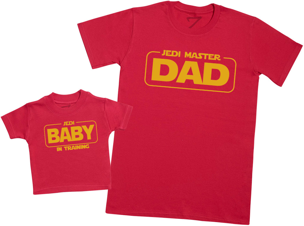 Jedi Master Dad and Jedi Baby - Dads T-Shirt and Baby T-Shirt Set