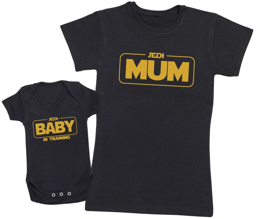 Jedi Master Mum and Jedi Baby - Mums T-Shirt and Baby Vest Set