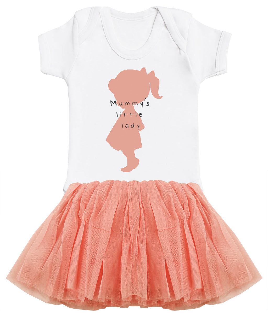 Mummy's Little Lady Baby Bodysuit and Peach Tutu Set