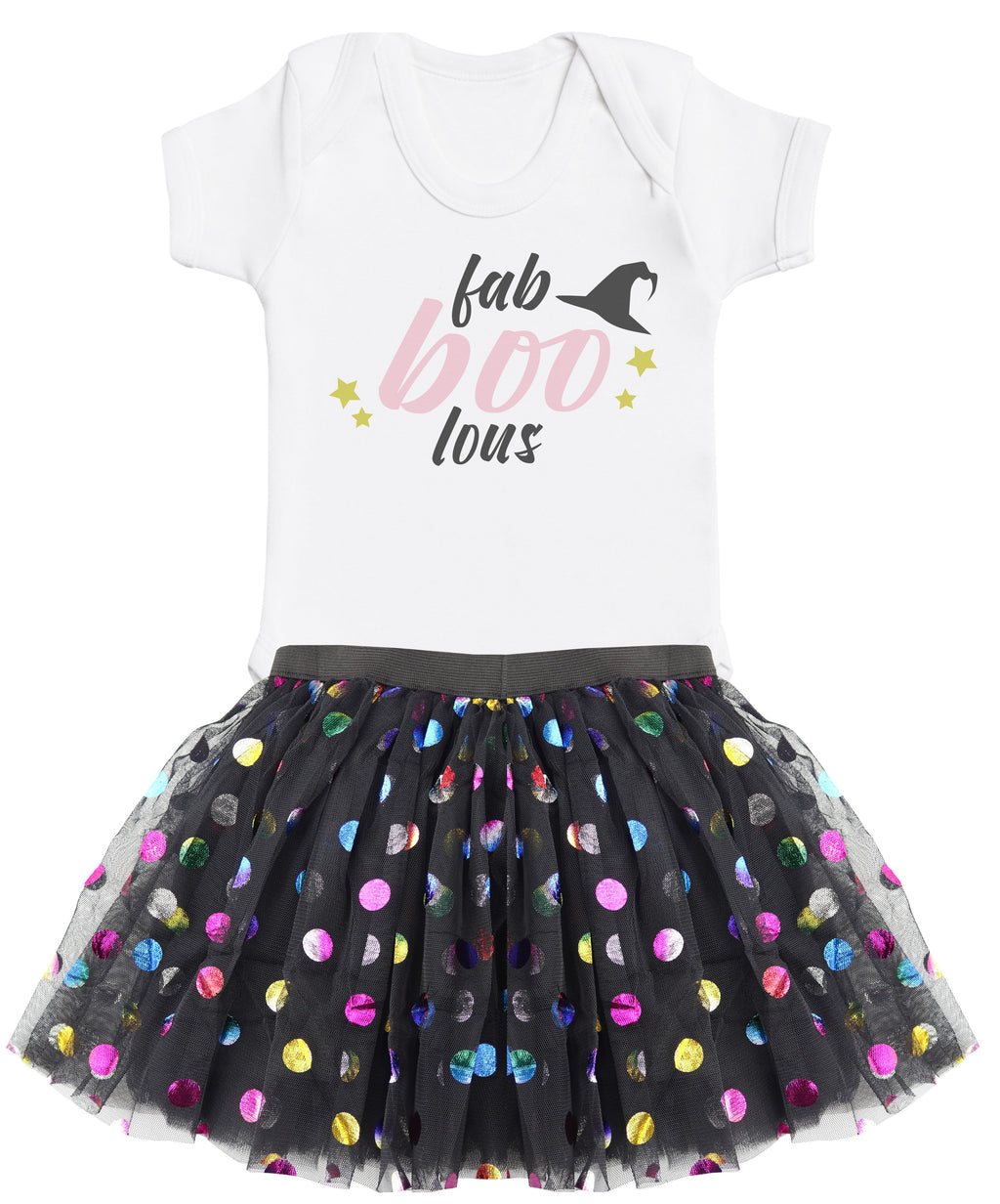 Fab-boo-lous Bodysuit and Rainbow Polka Dot Tutu Set
