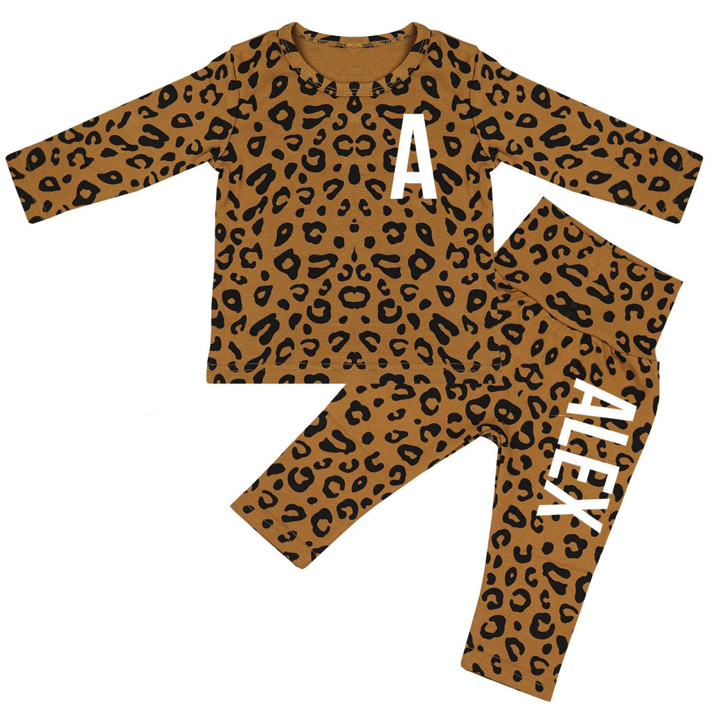 Ohio Personalised Initials & Name Leopard Print Lounge Suit