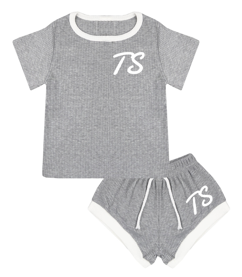 Montana Personalised Initials Ribbed Shorts & T-Shirt Set