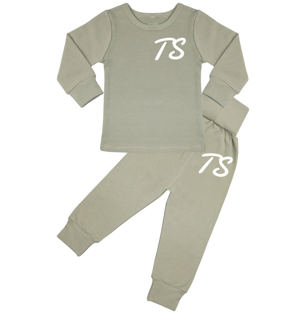 Montana Personalised Initials Lounge Suit - Dusty Green