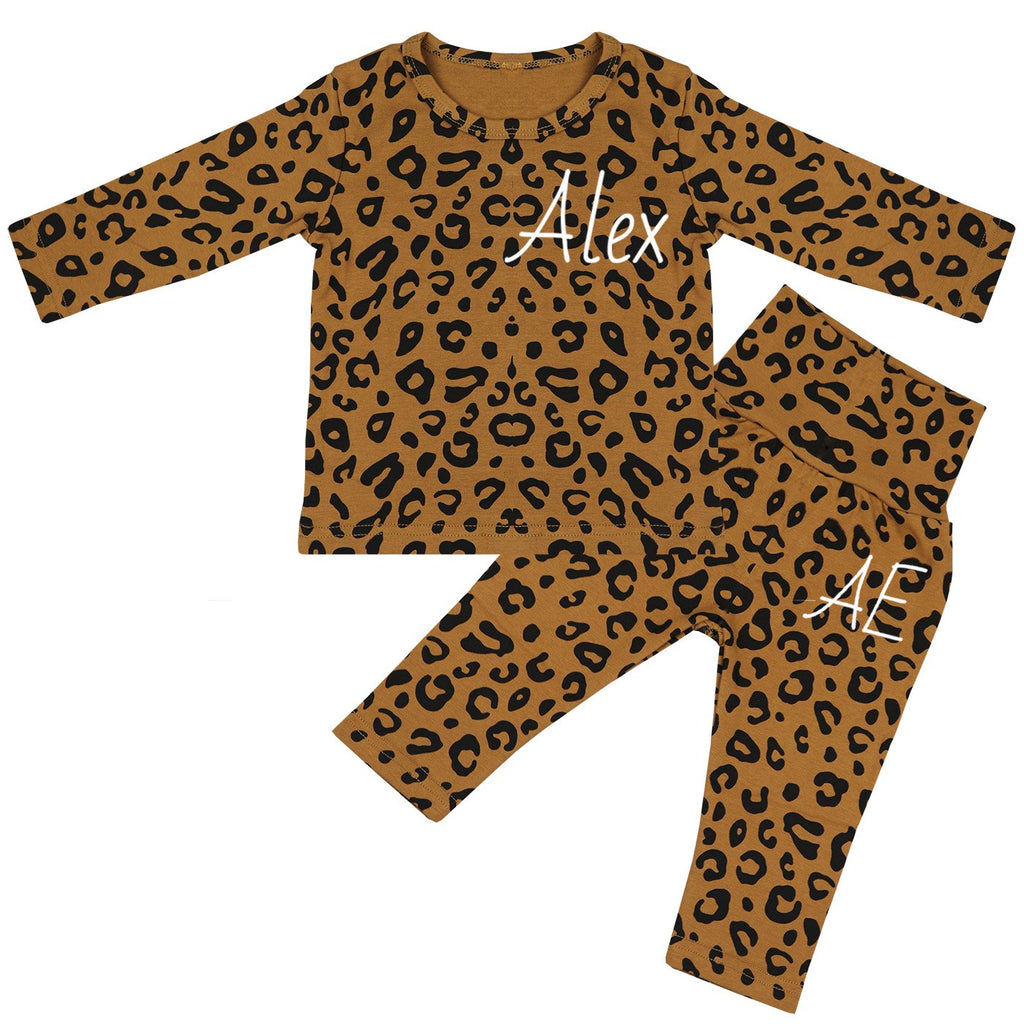 Texas Personalised Name & Initials Leopard Print Lounge Suit