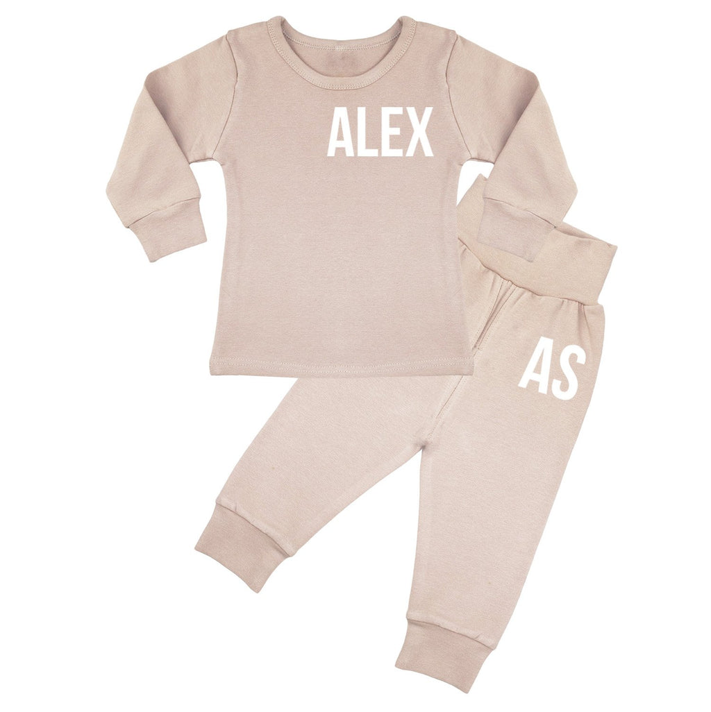 Ohio Personalised Name & Initials Lounge Suit - Dusty Pink