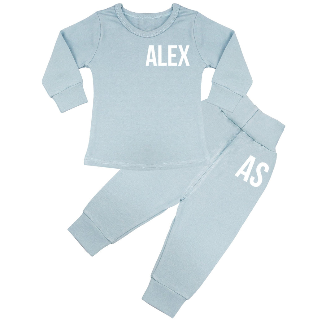 Ohio Personalised Name & Initials Lounge Suit - Dusty Blue