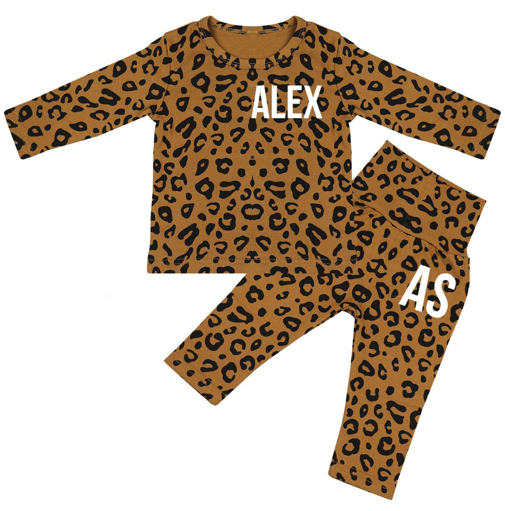 Ohio Personalised Name & Initials Leopard Print Lounge Suit