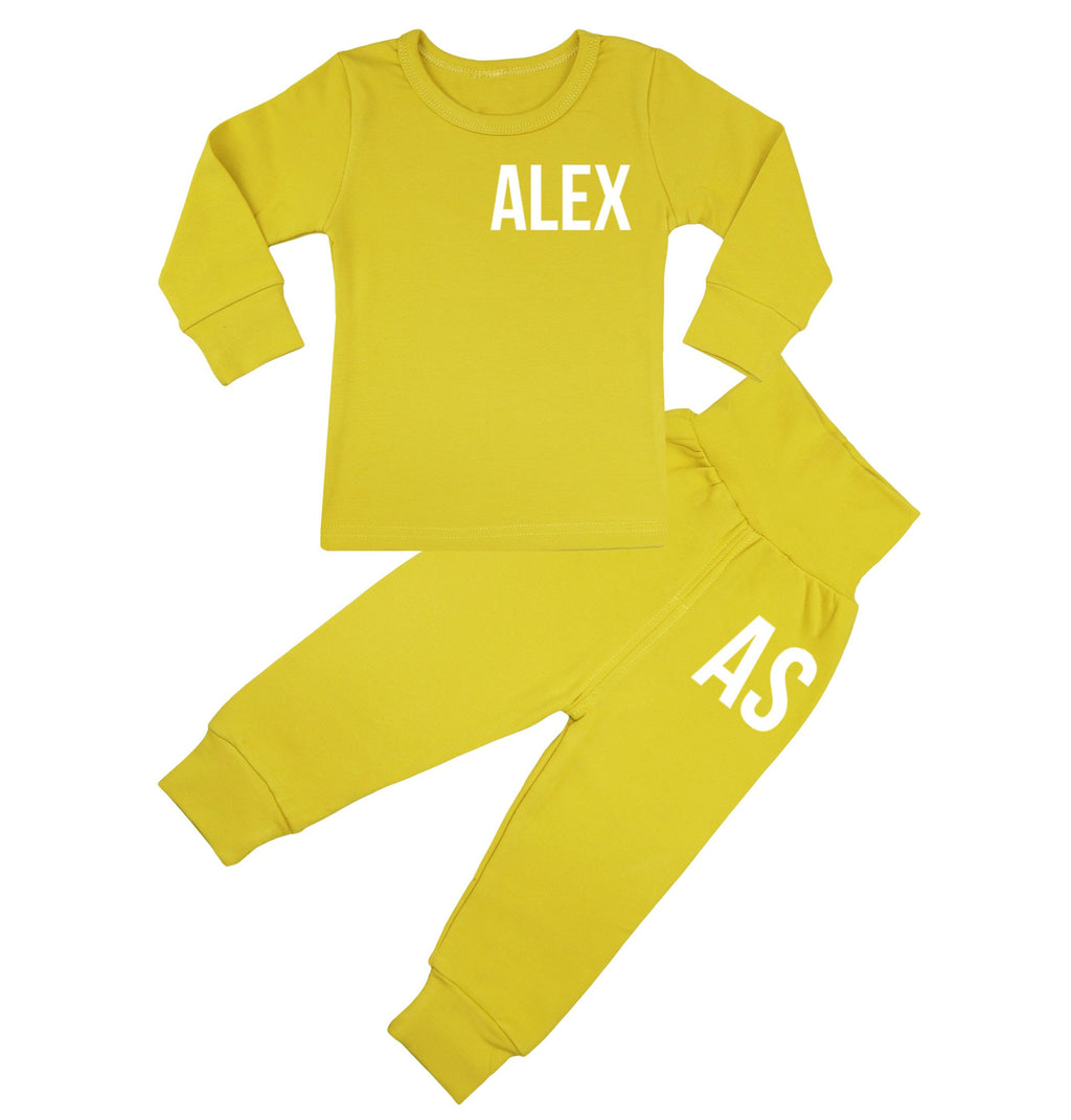 Ohio Personalised Name & Initials Lounge Suit - Mustard