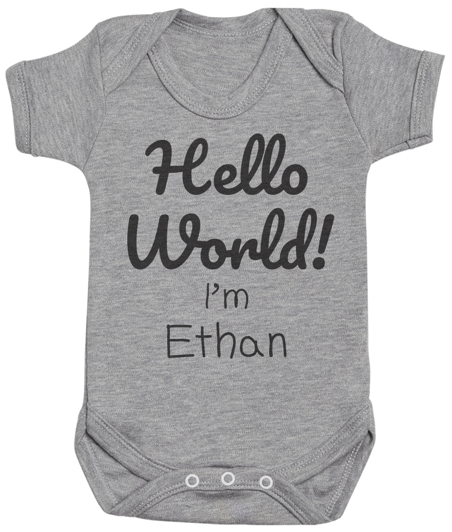 PERSONALISED Hello World -  - Baby Bodysuit