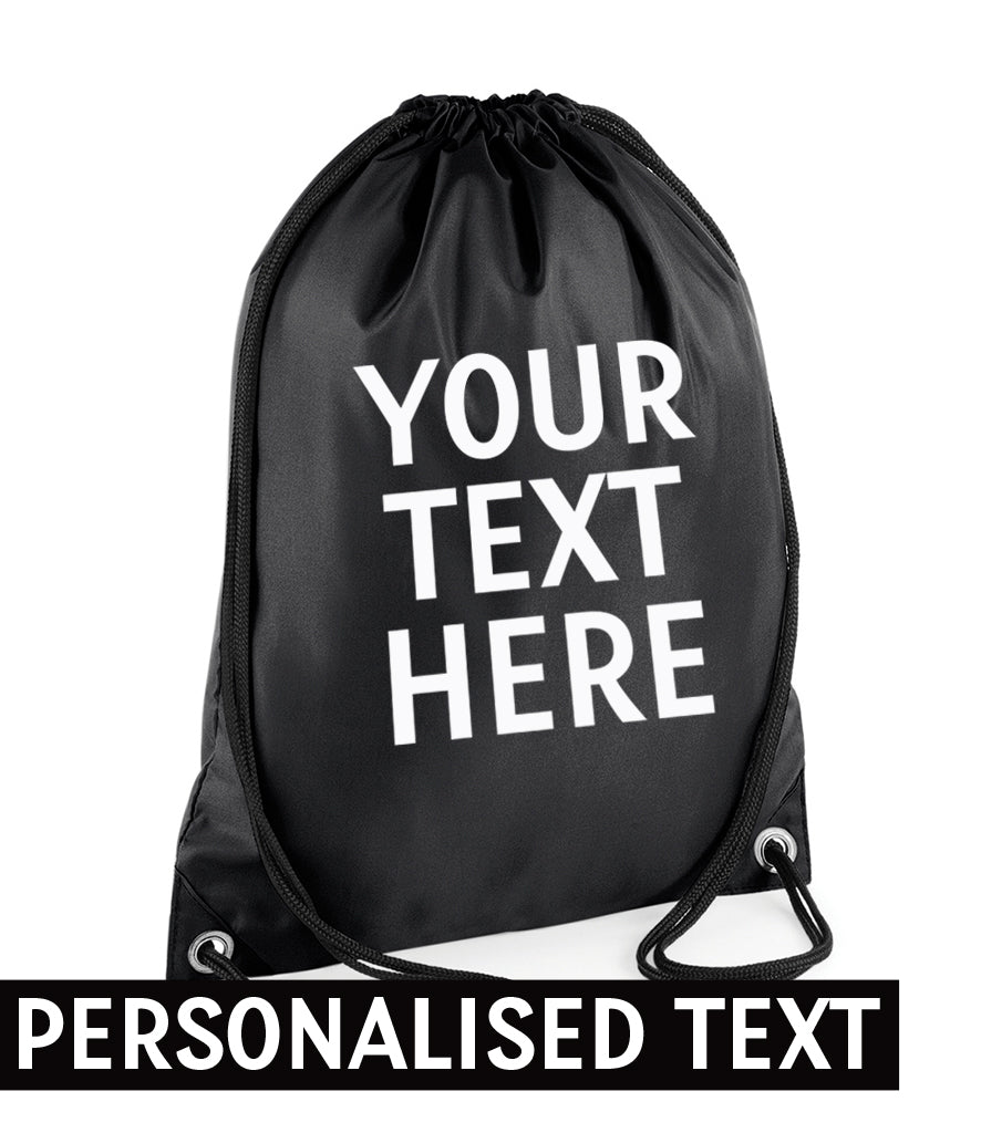 PERSONALISED Your Text Here - Carry Bag Gymsac - Number Of Colours