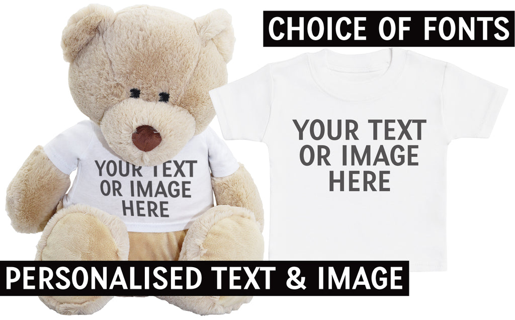 PERSONALISED Your Text Or Photo  - Matching Teddy Bear & Baby Kids T-Shirt
