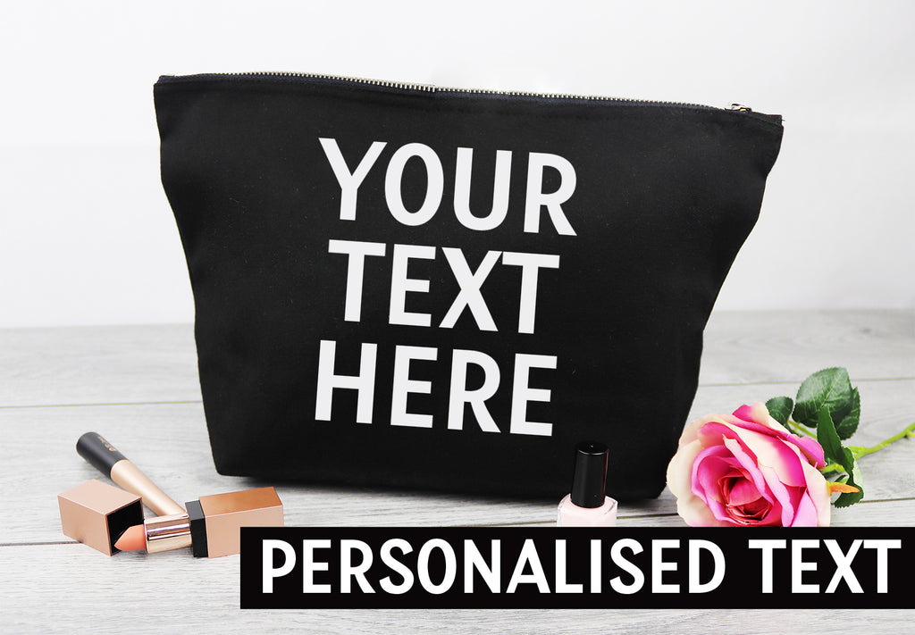 PERSONALISED Your Own Text or Name - Canvas Accessory Make Up Bag - Gift For Her, Gift For Mum, Gift for Girlfriend