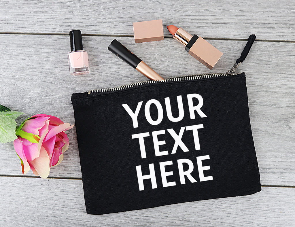 PERSONALISED Your Own Text or Name - Canvas Accessory Make Up & Purse Pouch