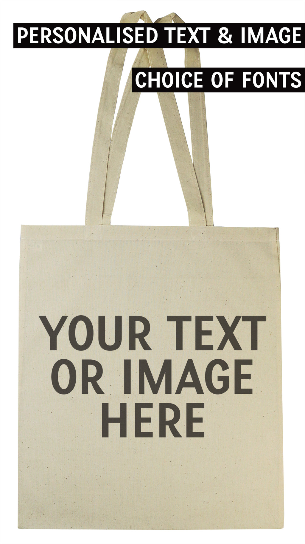 PERSONALISED Your Own Text or Name - Canvas Tote Shopping Bag