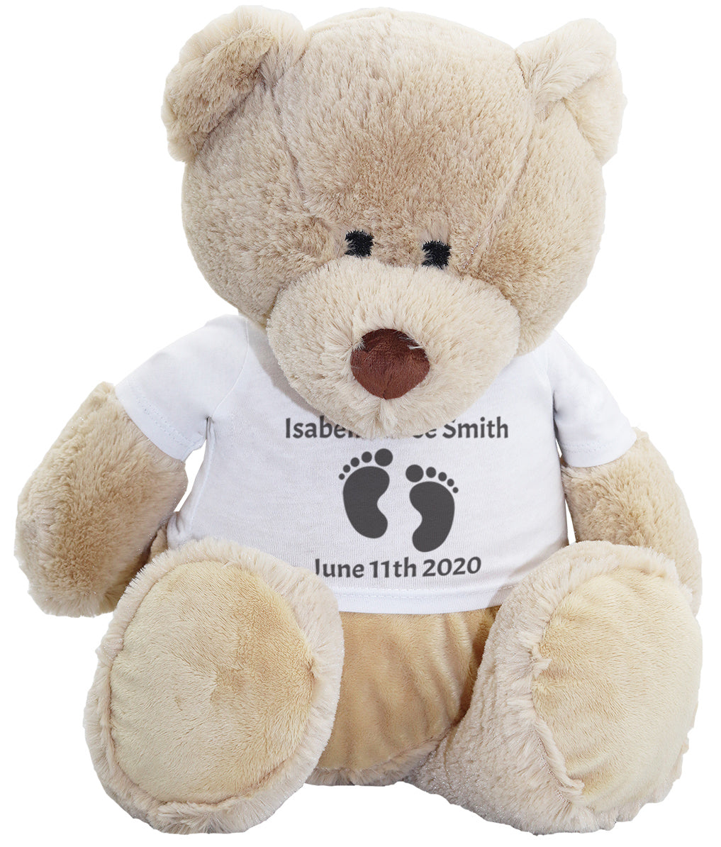 PERSONALISED Baby Feet - Teddy & Teddy T-Shirt Message