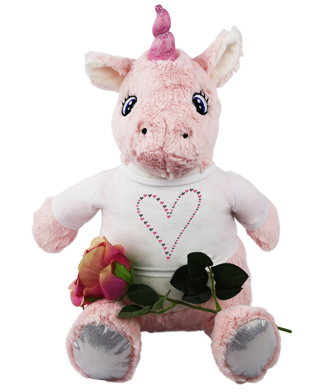 Love Hearts Unicorn Teddy with Beautiful Artificial Single Rose
