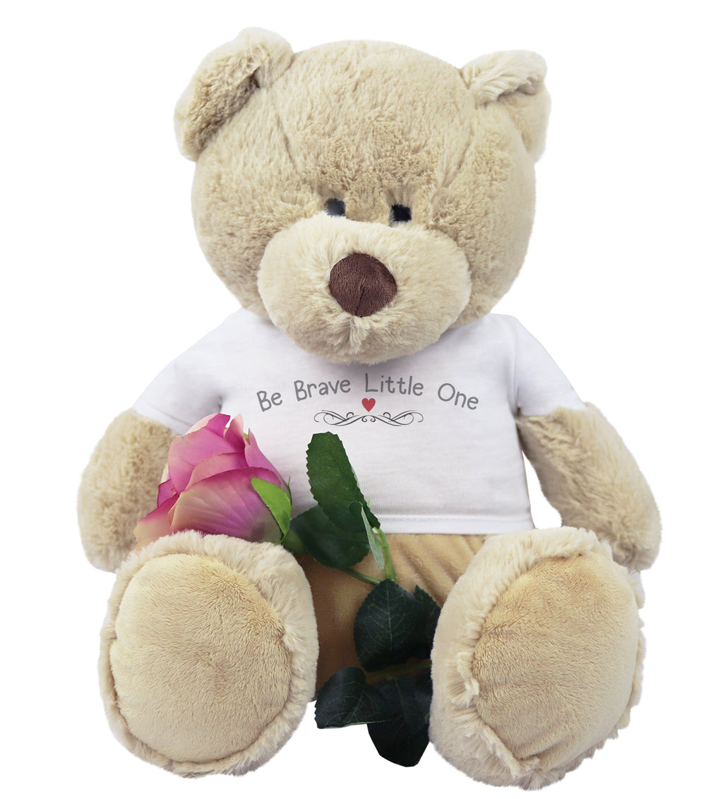 Be Brave Little One Teddy Bear with Beautiful Artificial Single Rose