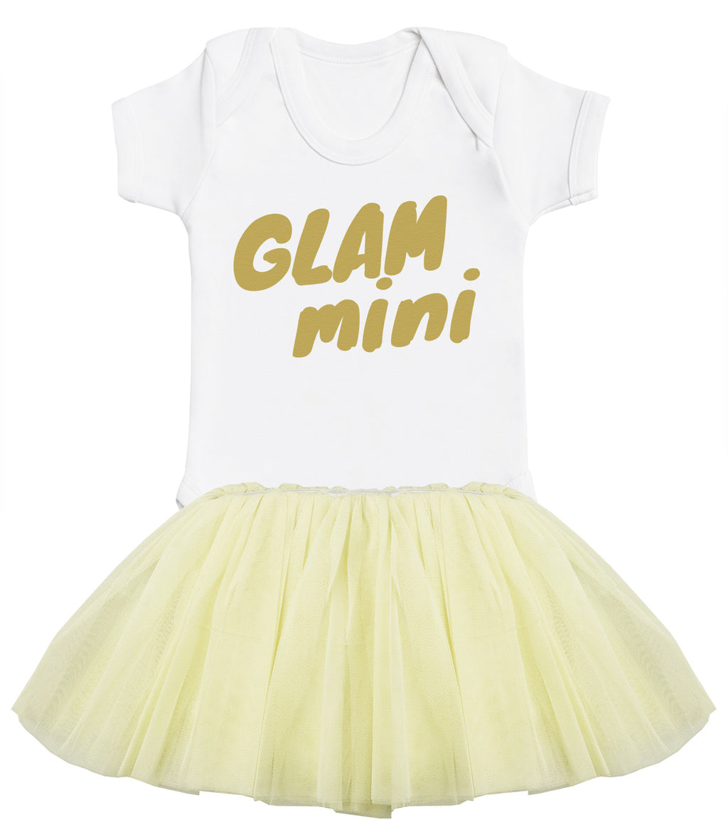 Glam Mini Baby Bodysuit and Cream Tutu Set