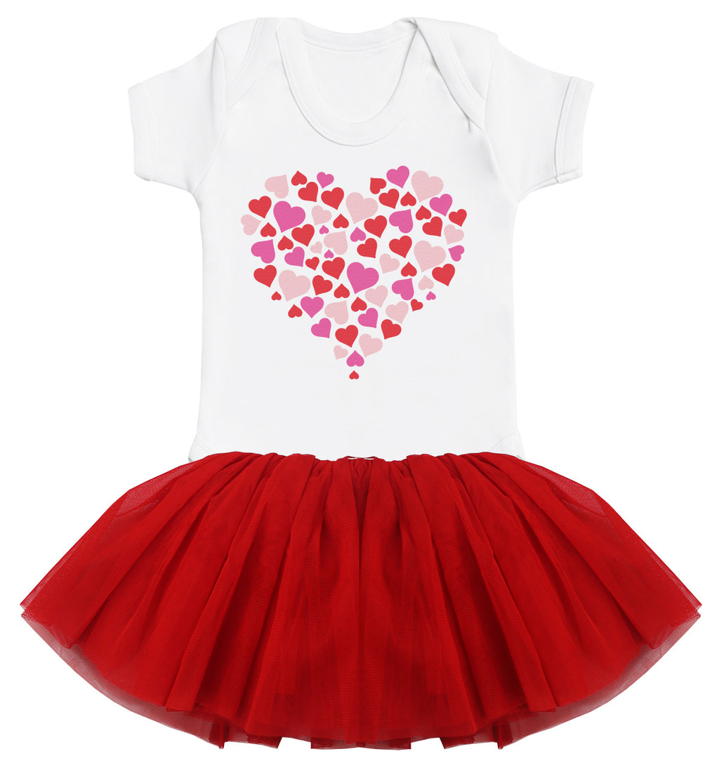 Heart of Hearts Baby Bodysuit and Red Tutu Set