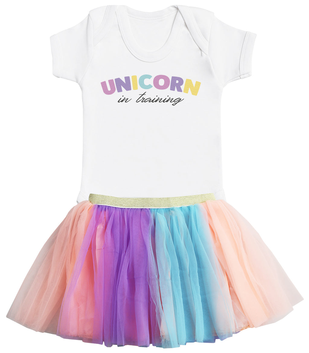 Unicorn in Training Bodysuit and Rainbow Tutu Set