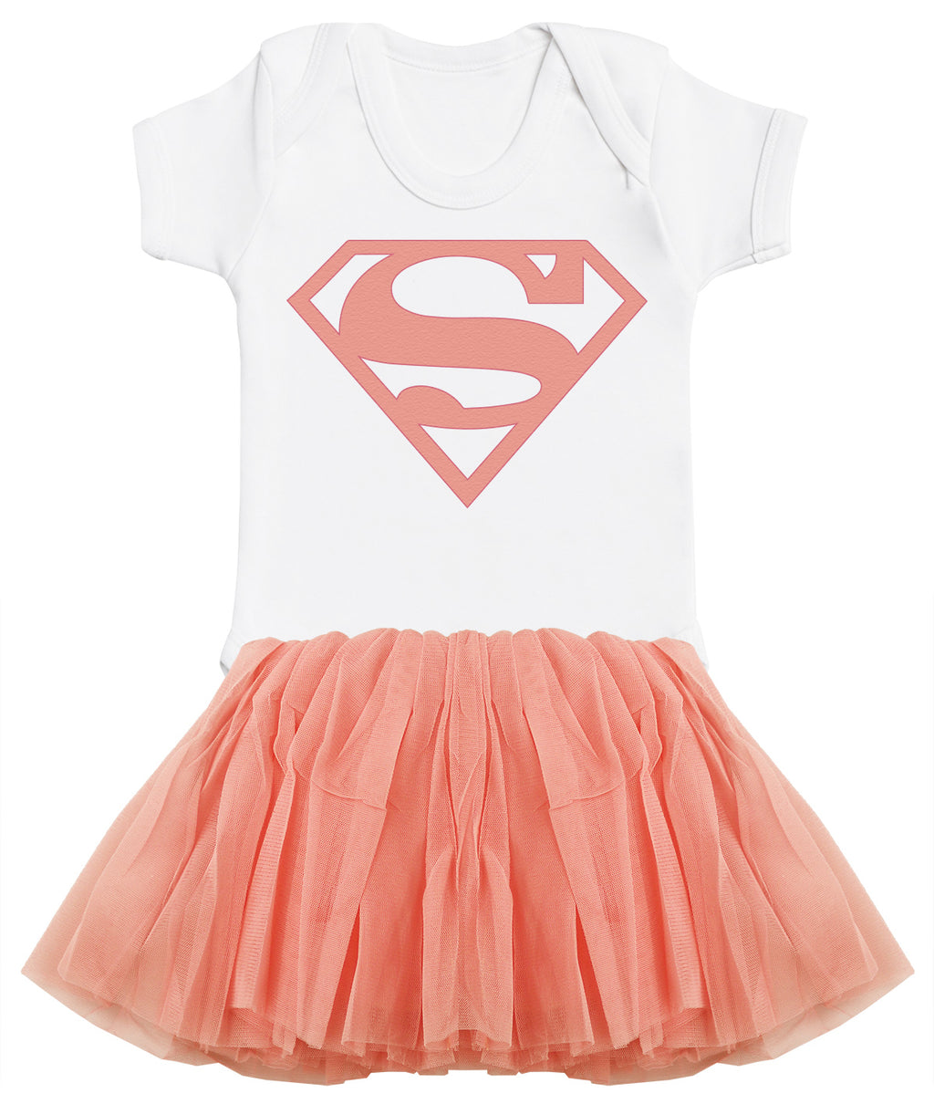 Supergirl Bodysuit and Peach Tutu Set