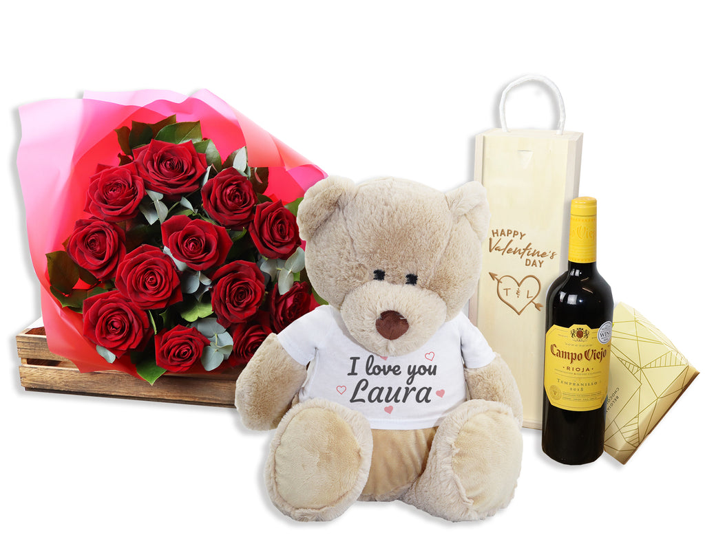 Valentine's Day Hamper with Personalised 'I Love' Teddy with choice of drink