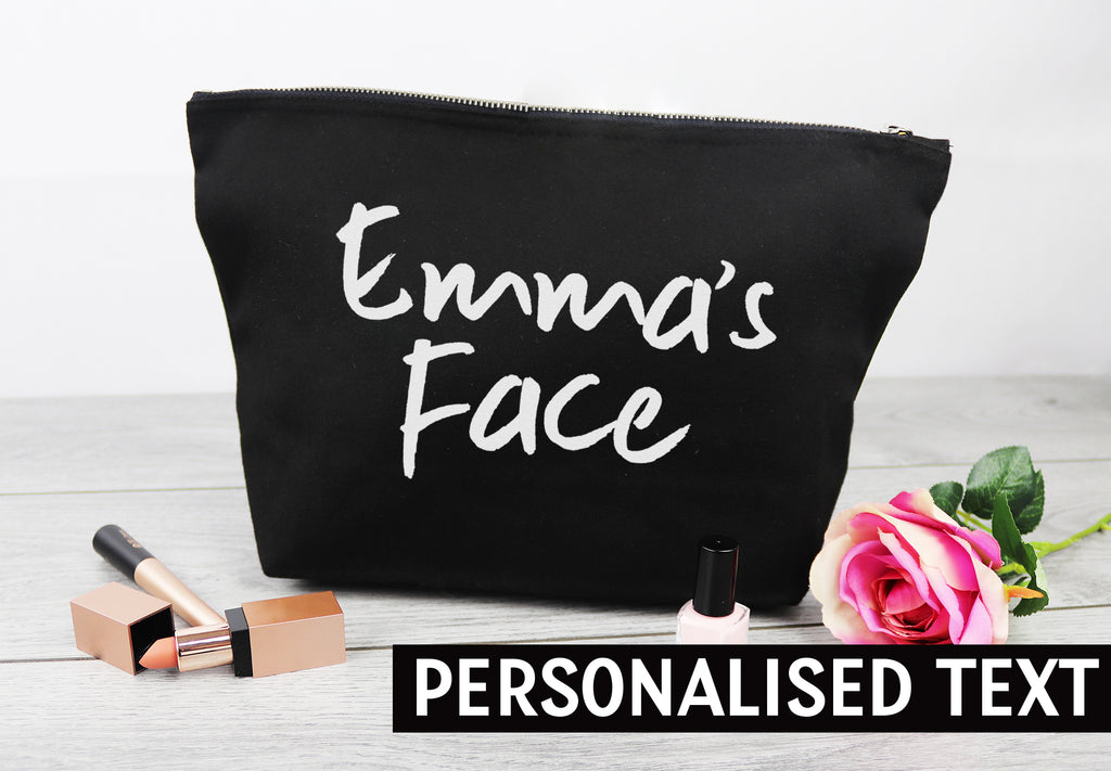 PERSONALISED Name Face - Canvas Accessory Make Up Bag - Gift For Her, Gift For Mum, Gift for Girlfriend