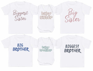 Baby, Big And Biggest Sibling Set - Matching Kids Set - Baby / Kids T-Shirts - Gift Set - The Gift Project