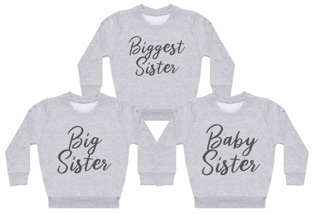 Baby, Big And Biggest Sisters - Matching Kids Set - Baby / Kids Sweaters - Gift Set - The Gift Project