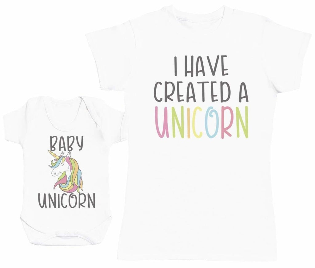 Baby Unicorn Matching Mother Baby Gift Set - Womens T Shirt & Baby Bodysuit - The Gift Project