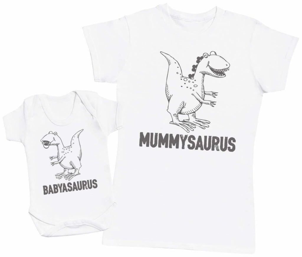 Babyasaurus & Mummyasaurus Matching Mother Baby Gift Set - Womens T Shirt & Baby Bodysuit - The Gift Project