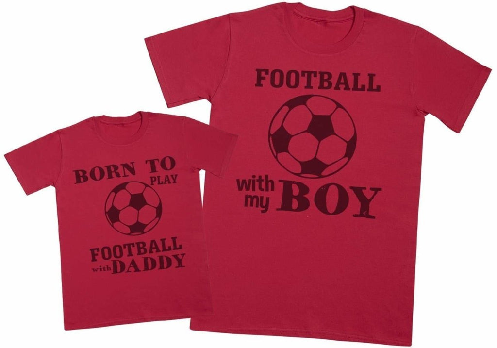 Born To Play Football With Daddy Matching Father Kids Gift Set - Mens T Shirt & Kid's T Shirt - The Gift Project