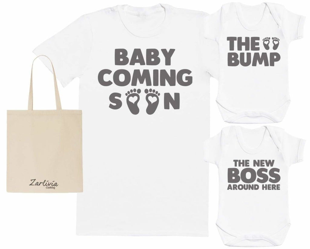 Coming Soon Maternity Hospital Gift Set Bag with Hospital T - Shirt & New Baby Bodysuit - The Gift Project