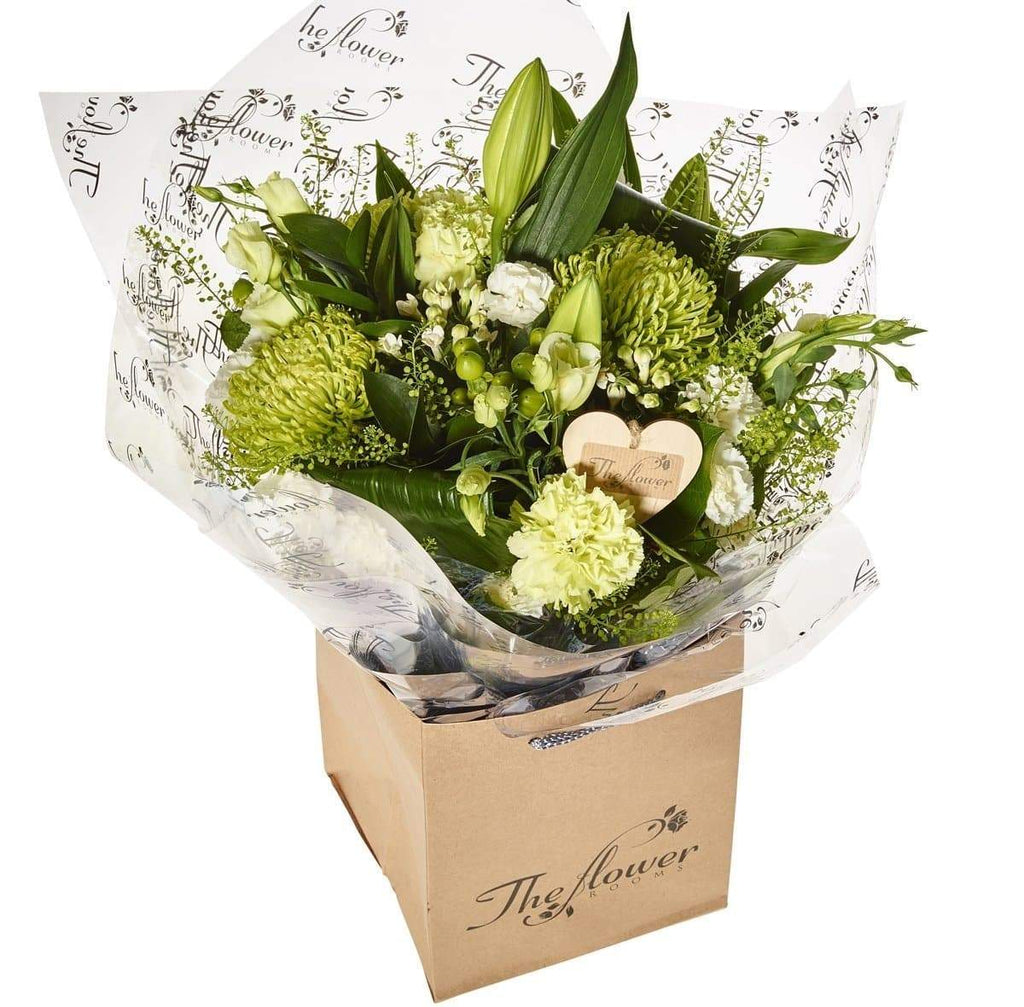 Contemporary Greens and Whites Hand Tied - The Gift Project