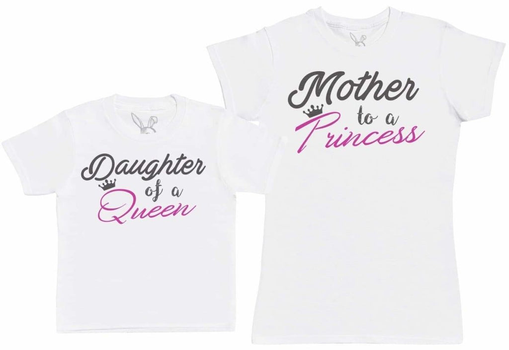 Daughter Of A Queen & Mother To A Princess - Kid's Gift Set with Kid's T - Shirt & Mother's T - Shirt - The Gift Project