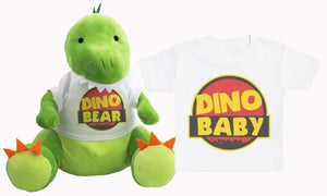 Dino Baby & Bear - Matching Dinosaur Teddy & Baby Kids T-Shirt - The Gift Project