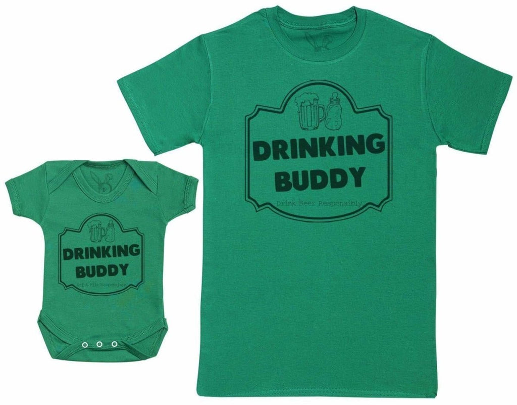 Drinking Buddy, Drink Milk - Baby Gift Set with Baby Bodysuit & Father's T - Shirt - The Gift Project