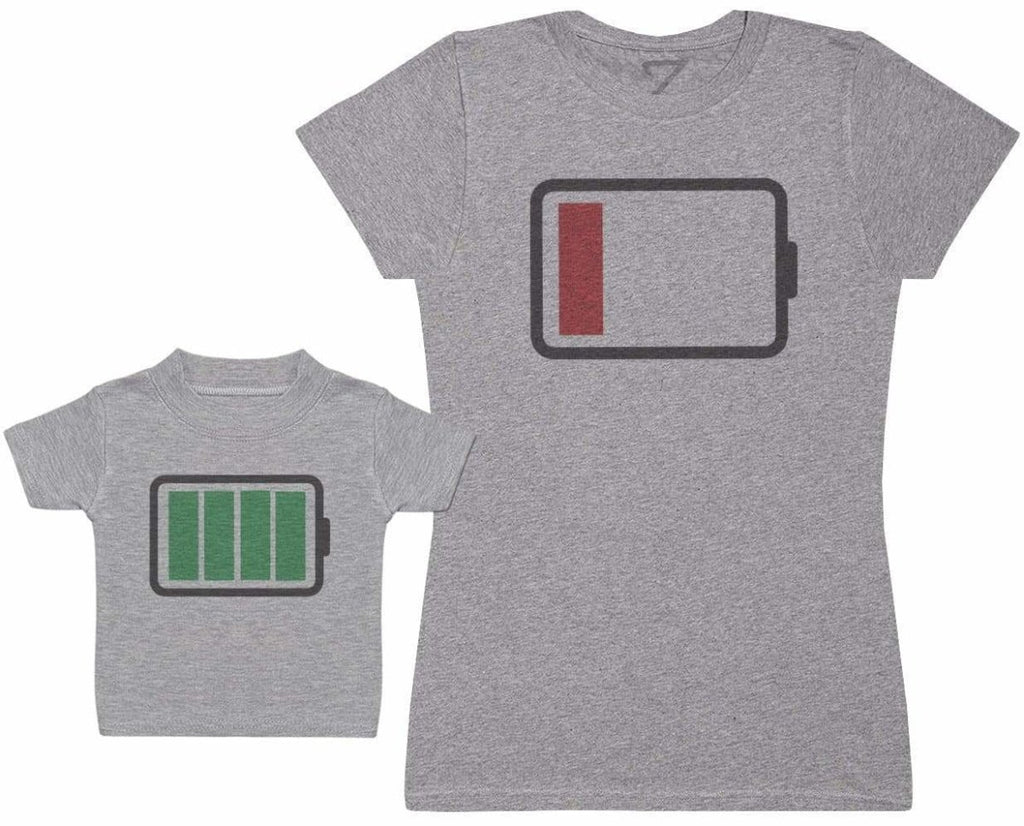 Full And Low Battery - Baby T - Shirt & Mother's T - Shirt - The Gift Project