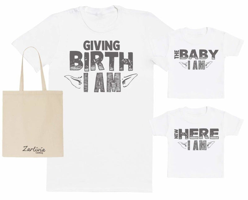 Giving Birth I Am Maternity Hospital Gift Set Bag - T-Shirts set - The Gift Project