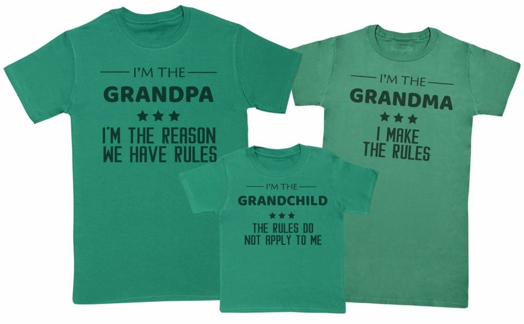 Grandpa, Grandma, Grandchild Rules - Matching Set - Baby / Kids T-Shirt, Mum & Dad T-Shirt - The Gift Project