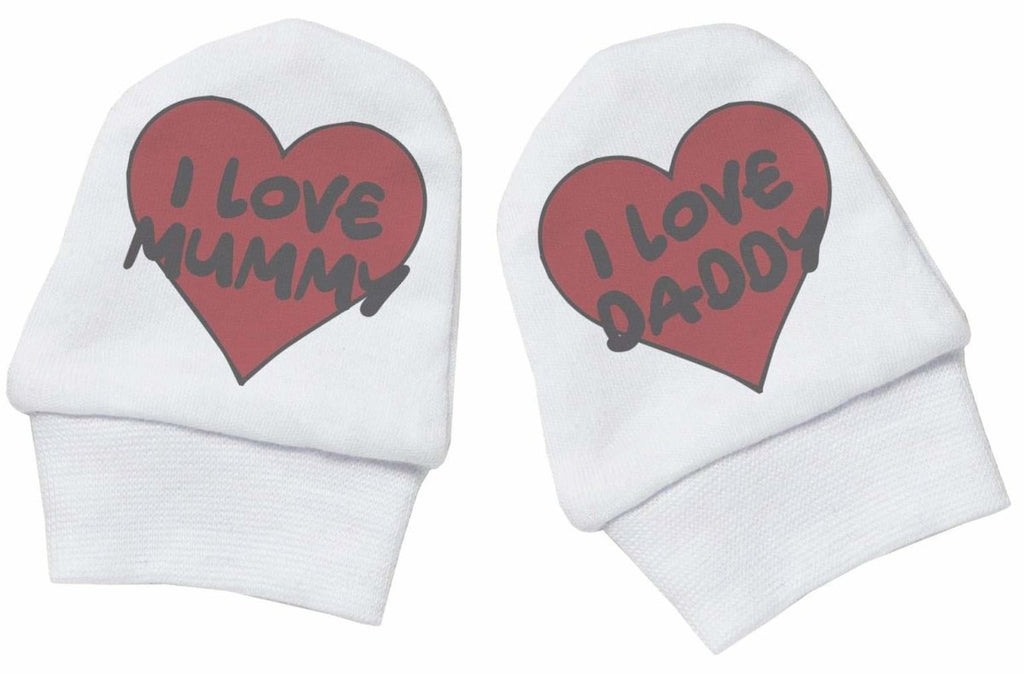 I Love Mummy & I Love Daddy 100% Cotton Scratch Mittens - The Gift Project