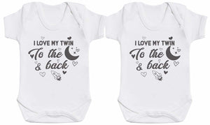 I Love My Twin To Moon & Back Baby Bodysuit Twin Set - The Gift Project