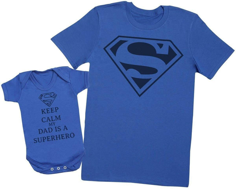 Keep Calm Dad Is A Super Hero - Mens T Shirt & Baby Bodysuit - The Gift Project