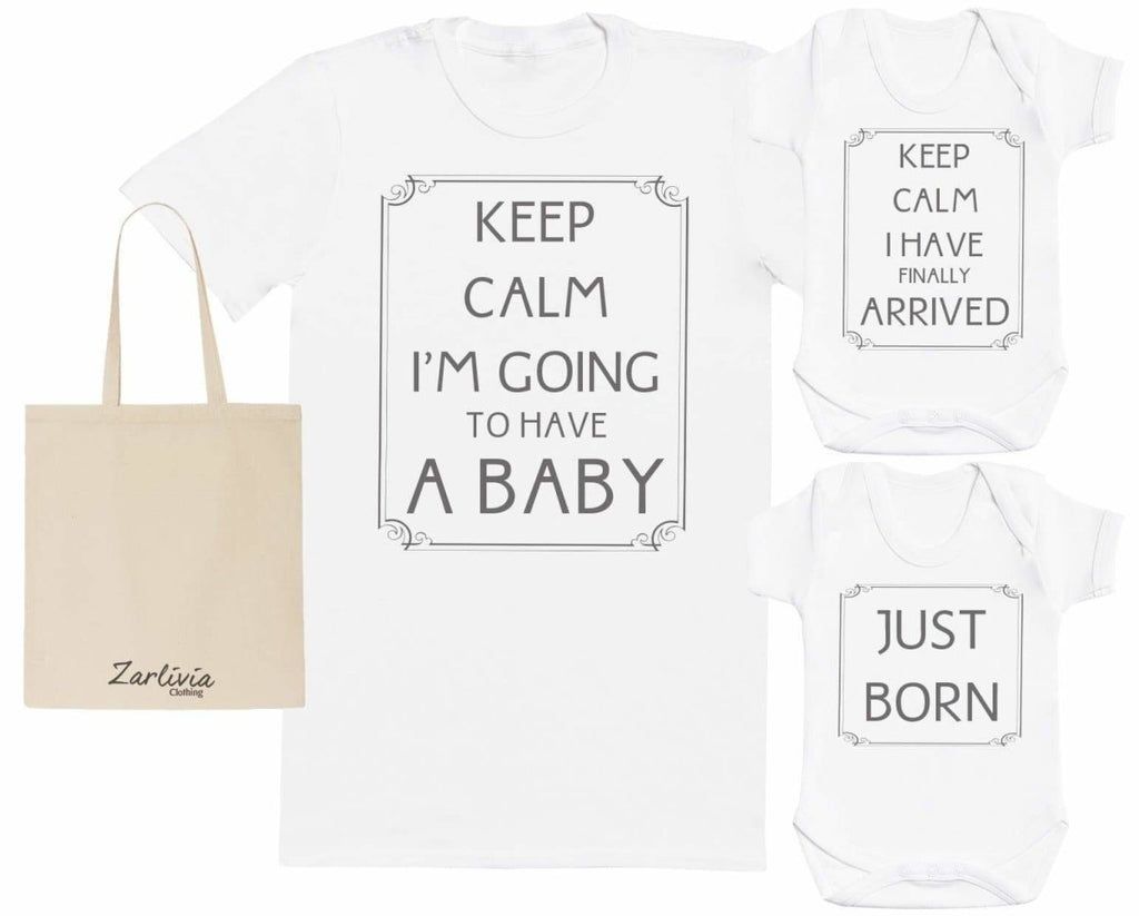 Keep Calm, Having A Baby Maternity Hospital Gift Set Bag with Hospital T - Shirt & New Baby Bodysuit - The Gift Project