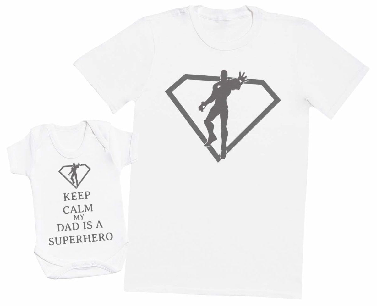 Mens T Shirt /& Baby Bodysuit Matching Father Baby Gift Set Keep Calm Dad is A Super Hero
