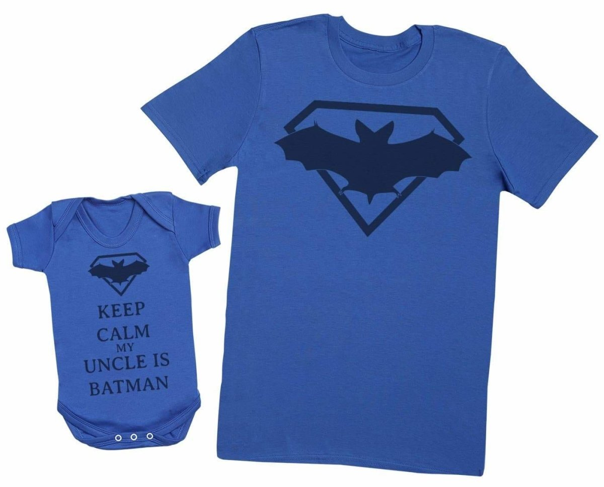 Mens T Shirt /& Baby T-Shirt Keep Calm My Uncle is Superman Matching Father Baby Gift Set XX-Large /& 6-12 Months Red