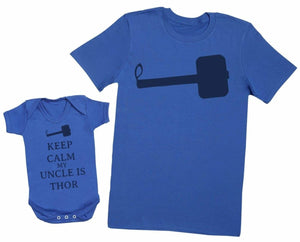 Keep Calm My Uncle Is Thor Matching Father Baby Gift Set - Mens T Shirt & Baby Bodysuit - The Gift Project