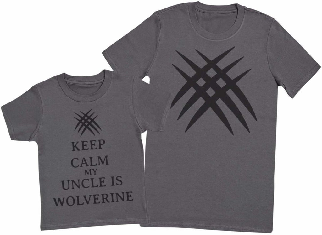Keep Calm My Uncle Is Wolverine Matching Father Kids Gift Set - Mens T Shirt & Kid's T Shirt - The Gift Project