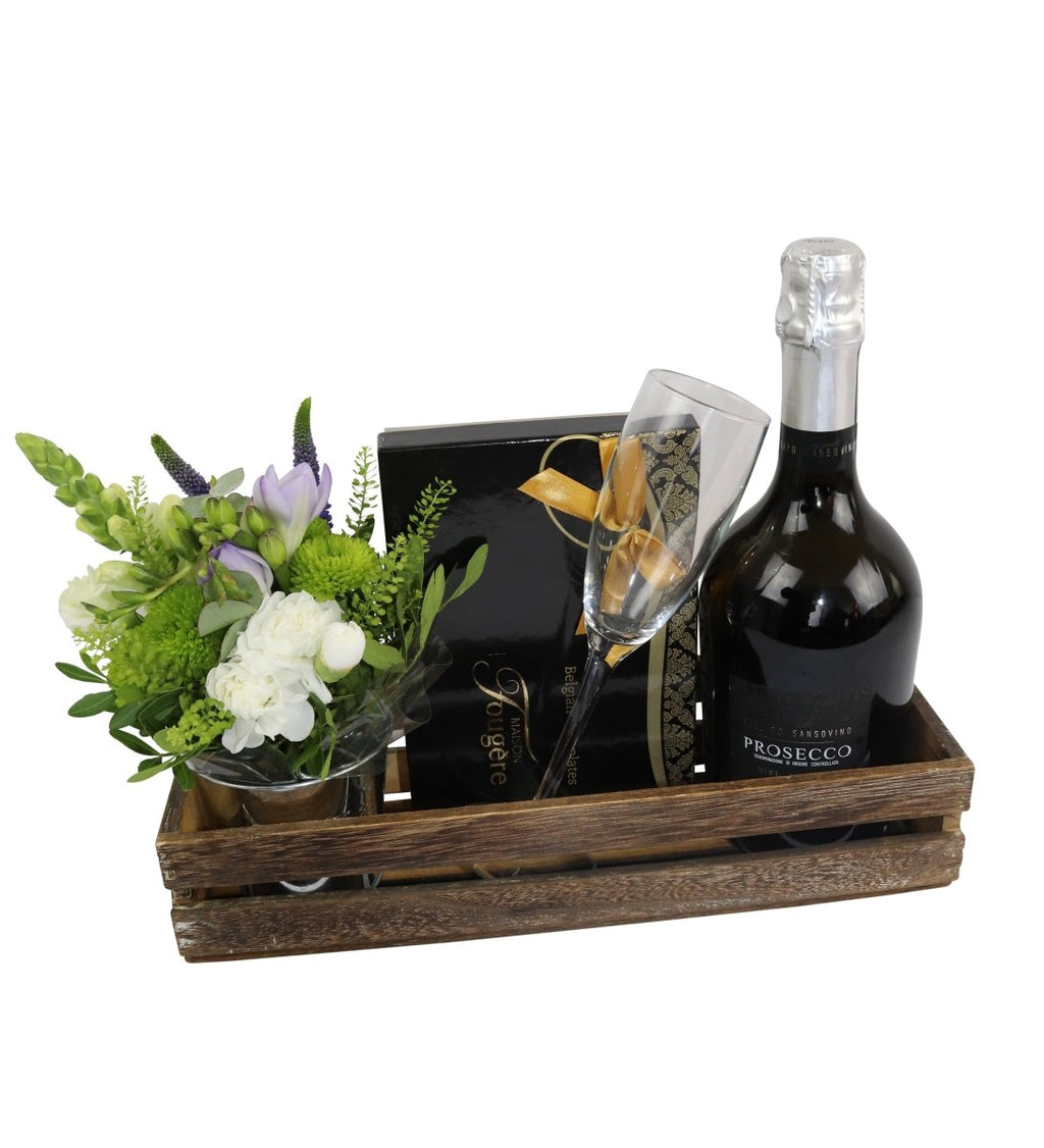 Lovely Thank You Hamper With Fresh Flowers - The Gift Project